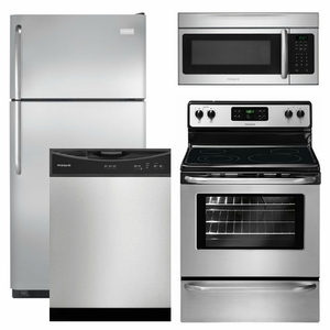 Package 15 - Frigidaire Appliance Package - 4 Piece Appliance Package with Top Mount Refrigerator - Stainless Steel - Electric