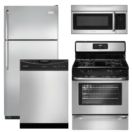 Package 16 - Frigidaire Appliance Package - 4 Piece Appliance Package with Top Mount Refrigerator and Gas Range - Stainless Steel