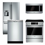 Package B3 - Bosch Appliance Package - 4 Piece Appliance Package with Electric Range - Stainless Steel