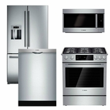 Package B4 - Bosch Appliance Package - 4 Piece Appliance Package with Gas Range - Stainless Steel