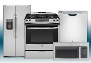 Package 5 - GE Builder's Special Package - 4 Piece Appliance Package - Stainless Steel - Slide In Gas