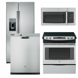 Package 6 - GE Appliance Package - 4 Piece Appliance Package with Electric Slide In Range- Stainless Steel