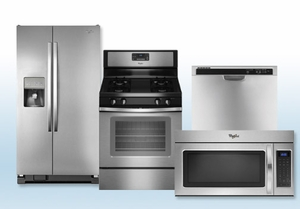 Package 8 - Whirlpool Builder's Special Package - 4 Piece Appliance Package - Stainless Steel - Gas