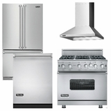 Package V7 - Viking Appliance Package - 4 Piece Luxury Appliance Package with Gas Range - Stainless Steel
