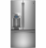 PFE28RSHSS GE Profile Series Energy Star 27.7 Cu. Ft. French-Door Ice & Water Refrigerator - Stainless Steel