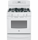 "PGB940DEFWW GE Profile Series 30"" Free-Standing Self Clean Gas Range with Warming Drawer - White"