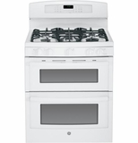 "PGB950DEFWW GE Profile Series 30"" Free-Standing Gas Double 6.8 Cu. Ft. Oven with Convection Range - White"