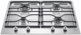 "PM24400X Bertazzoni 24"" Gas Cooktop with 4 Sealed Aluminum Burners Cast Iron Continuous Grates - Stainless Steel"