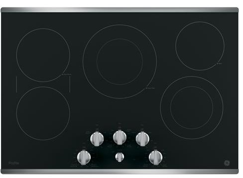 "PP7030SJSS GE Profile Series 30"" Built-In Knob Control Electric Cooktop with 5 Radiant Elements - Black with Stainless Steel Trim"