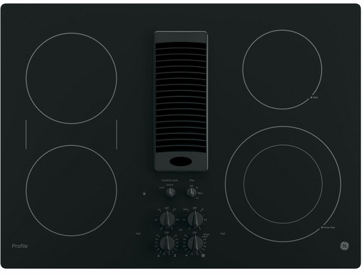 "PP9830DJBB GE Profile Series 30"" Downdraft Electric Cooktop with Bridge Element - Black"