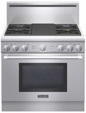 "PRD364GDHU Thermador 36"" Pro Harmony Dual Fuel Pro Style Range with 4 Burners and Electric Griddle - Stainless Steel"