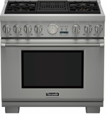 "PRD364NLGU Thermador 36"" Professional Series Pro Grand Commercial Depth Dual Fuel Range with (4) Burners & Grill - Stainless Steel"