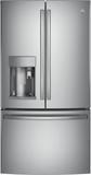 "PYE22PSKSS GE 36"" Counter Depth French Door Refrigerator with 22.2 cu. ft. Capacity, Keurig K-Cup System and 4 Adjustable Glass Shelves - Stainless Steel"