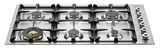 "QB36600X Bertazzoni Professional 36"" 6-Burner Low-Profile Gas Cooktop - Stainless Steel"