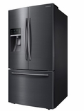 "RF28HFEDBSG 36"" Samsung 28.07 Cu. Ft. Capacity Counter 3-Door French Door Refrigerator with LED Lighting and Twin Cooling Plus - Black Stainless Steel"