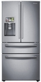"RF28HMELBSR Samsung 28 cu. ft. French 4-Door Refrigerator with 8"" Wi-Fi Enabled LCD & Counter-Height FlexZone Drawer - Stainless Steel"