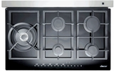 "RNTT365GBLP Dacor Renaissance 36"" TouchTop Gas Cooktop with Glass Cooktop - LP Gas - Black & Stainless Steel"