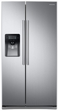 RS25J500DSR Samsung 25 cu. ft. Capacity Side-By-Side Refrigerator with LED Lighting  & External Dispenser - Silver