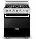 "RVGR33025BBK 30"" Viking 3 Series Freestanding Gas Range with Five Sealed Burners and SureSpark Ignition System - Natural Gas - Black"