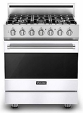 "RVGR33025BWH 30"" Viking 3 Series Freestanding Gas Range with Five Sealed Burners and SureSpark Ignition System  - Natural Gas - White"