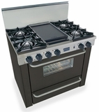 "TTN310-7W Five Star 36"" Pro Style Natural Gas Range with Open Burners - Black"