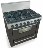 "TTN311-7W Five Star 36"" Pro Style Natural Gas Range with Six Sealed Burners - Black"