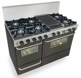 "TTN525-7W Five Star 48"" Pro Style Dual Fuel Self-Cleaning Convection Range with Open Burners - Natural Gas - Black"