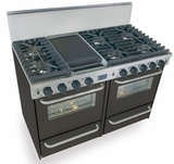 "TTN531-7W Five Star 48"" Pro Style Gas Convection Range with Sealed Burners - Natural Gas - Black"