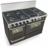 "TTN537-7W Five Star 48"" Pro Style Dual-Fuel Range Sealed Burners Self-Cleaning Convection Range - Natural Gas - Black"