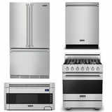 Package V2 - Viking Appliance Package - 4 Piece Luxury Appliance Package with Dua Fuel Range - Stainless Steel
