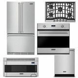 Package V5 - Viking Appliance Package - 5 Piece Luxury Built In Appliance Package with Gas Cooktop - Stainless Steel