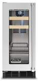 "VBCI1150GRSS Viking 15"" Undercounter Freestanding Refrigerated Beverage Center with Pro Clear Glass Door - Right Hinge - Stainless Steel"