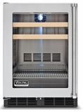"VBCI1240GRSS Viking 24"" Undercounter Freestanding Refrigerated Beverage Center with Pro Clear Glass Door - Right Hinge - Stainless Steel"