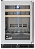 "VBCI5240GLSS Viking Professional 24"" Undercounter Beverage Center with Forced Air Cooling System - Left Hinge - Stainless Steel"