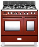 "VCLFSGE365DR Verona Classic 36"" Dual Fuel double Oven Range with 5 Sealed Burners - Gloss Red"