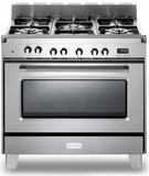 "VCLFSGE365SS Verona Classic 36"" Dual Fuel Single Oven Range with 5 Sealed Burners - Stainless Steel"