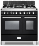 "VCLFSGG365DE Verona Classic 36"" All Gas Double Oven Range with 5 Sealed Burners - Black"