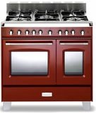 "VCLFSGG365DR Verona Classic 36"" All Gas Double Oven Range with 5 Sealed Burners - Red"