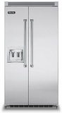 """VCSB5422DSS Viking 42"""" Built-in Professional Series Side-by-Side Refrigerator with Plasmacluster Ion Air Purifier & Dispenser  - Stainless Steel"""