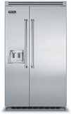 """VCSB5482DSS Viking 48"""" Built-in Professional Series Built-in Side-by-Side Refrigerator with Plasmacluster Ion Air Purifier & Dispenser  - Stainless Steel"""