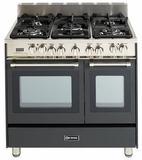 "VEFSGE365NDE Verona 36"" Dual Fuel Double Oven Range - Matte Black Finish"