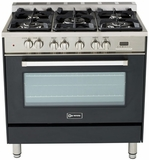 "VEFSGE365NE Verona 36"" Dual Fuel Single Oven Range - Matte Black Finish"