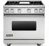"VGR73614GSS 36"" Viking Professional 7 Series Gas Range with 4 Sealed Burners and ViChrome Griddle - Stainless Steel"