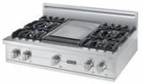 "VGRT5364GSS Viking 36"" Gas Custom Sealed Burner Rangetop with 4 Burners and Griddle  Stainless Steel"