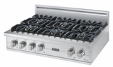 "VGRT5366BSS Viking 36"" Gas Custom Sealed Burner Rangetop with 6 Burners  Stainless Steel"