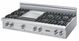 "VGRT5486GSS Viking 48"" Gas Custom Sealed Burner Rangetop with 6 Burners and Griddle - Natural Gas -  Stainless Steel"