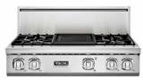 "VGRT7364GSS Viking Professional 7 Series 36"" Gas Rangetop - 4 Burners with 12"" Griddle -  Natural Gas - Stainless Steel"