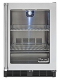 "VRCI240GRSS Viking Undercounter Freestanding 24"" Refrigerator with Pro Clear Glass Door - Stainless Steel"