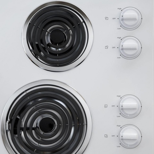 "WCC31430AW Whirlpool 30"" Electric Cooktop with Dishwasher-Safe Knobs - White"
