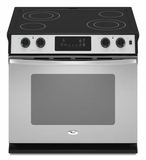 "WDE350LVS Whirlpool 30"" Self-Cleaning Drop-In Electric Ceramic Glass Range - Stainless Steel"